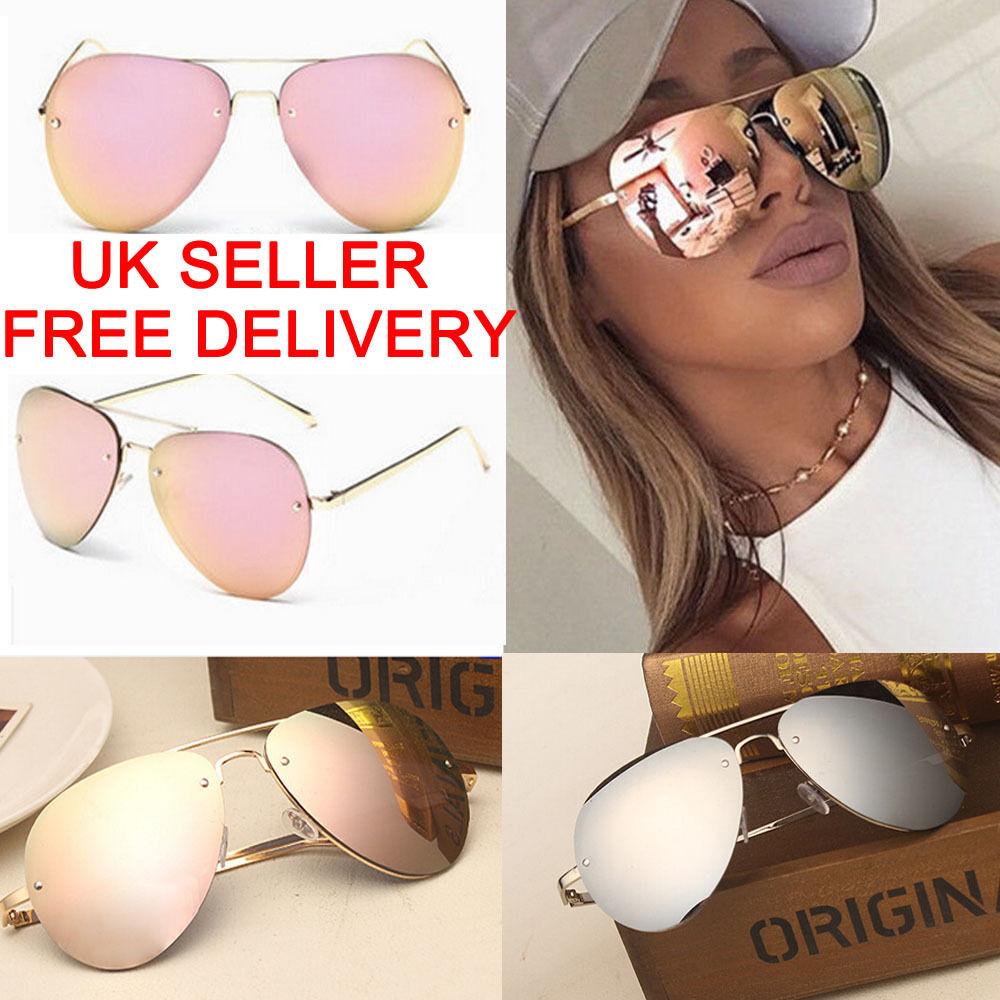Vintage Retro Women's Rose Gold Cat Eye Designer Large Mirrored Sunglasses UV400