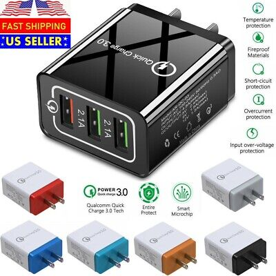 USB Quick Fast Charger Hub Wall Charger Power Adapter For iPhone Android Samsung