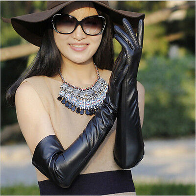 Women Cosplay Black Shiny Wet Look Faux Leather Long Gloves Best Holiday Gift