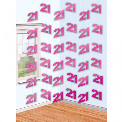 6 Pink 21st Birthday Party 7ft String Decorations (21 Birthday Party Decorations)
