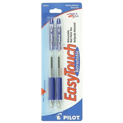 Pilot Easytouch Medium Retractable Ball Point Pens Blue 2 Ea Pack Of 3