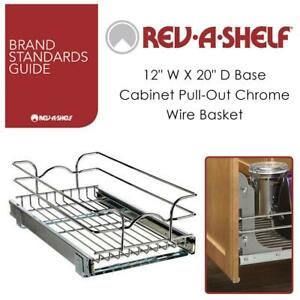 NEW Rev-A-Shelf 5WB1-1220-CR 12 W X 20 D Base Cabinet Pull-Out Chrome Wire Basket Condtion: New, 12 in