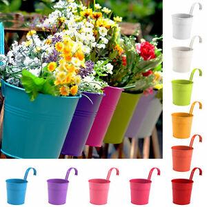 10 Colors Metal Iron Flower Pot Hanging Balcony Garden Plant Planter Decor
