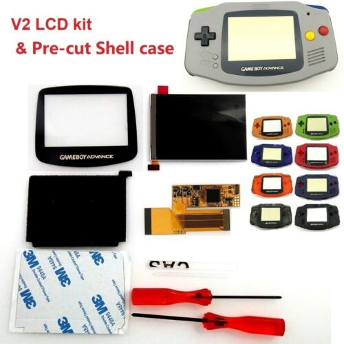 V2 IPS Backlight Backlit LCD For Game Boy Advance GBA and Pre-cut Shell Case