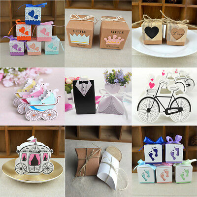 100pcs Wedding Engagement Birthday Party Decor Cake Candy Favor Gift Boxes Pack - Cake Favor Boxes
