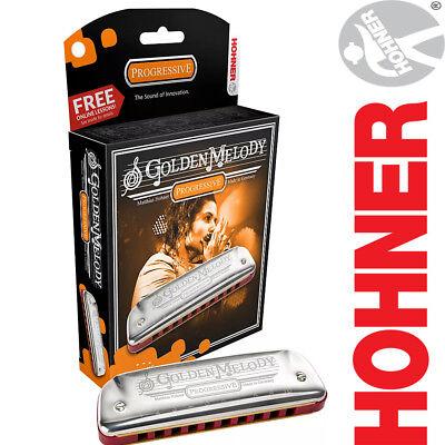 (NEW Hohner 542PBX-C Progressive Golden Melody 10 Hole Key of C Harmonica)