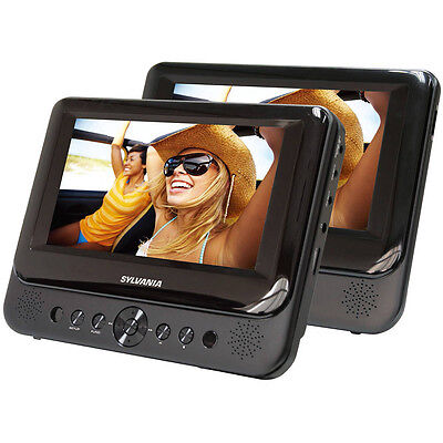 "Sylvania Dual 7"" Portable DVD Player w/ Stereo Speakers in Black - Recertified"