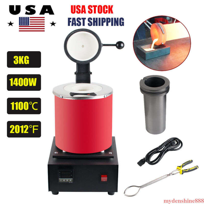 3KG Automatic Electric Metal Melting Furnace Gold Silver Smelter Machine 1100℃