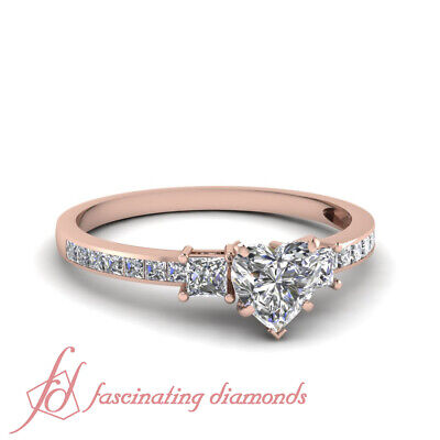 1.65 Ct Rose Gold Heart Shaped Diamond 3 Stone Ring With Princess Accents GIA