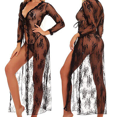 Long Black Sheer Robe (Black Sexy Lingerie Women Long Lace Dress Sheer Gown See Through Kimono Robe)