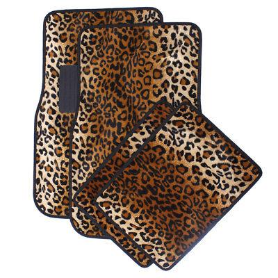 Auto Floor Mats for SUVs Trucks Vans Beige Safari Leopard Animal Print Carpet