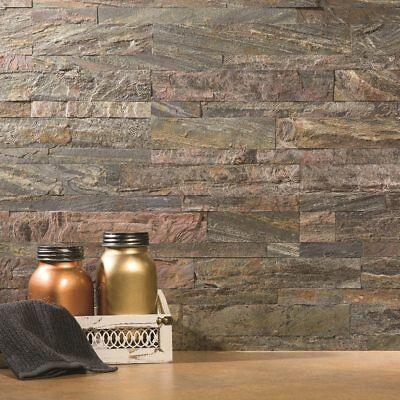 (Peel And Stick Tile Self Adhesive Stone Wall Bath Kitchen Backsplash Grey Brown)