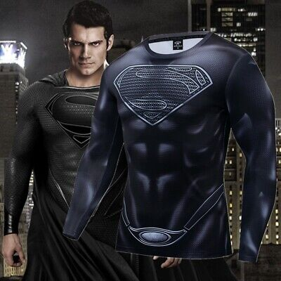 Superman Superhero Costume Gym Cycling Sports T-Shirt Short Sleeve Bicycle Tops](Superhero T Shirt Costume)