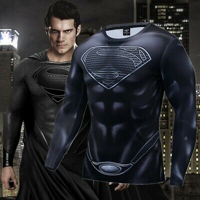 Superhero Superman Costume Cosplay Compression Tights Quick-Drying T-shirt US](Superheroe Costume)