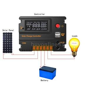 10A Solar Regler Charge Controller 12-24V Auto Switch Überladung Schutz DHL N1O7