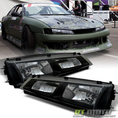 - Fits 1997-1998 240SX S14 Kouki JDM Black Crystal Headlights Lights Lamps 97-98
