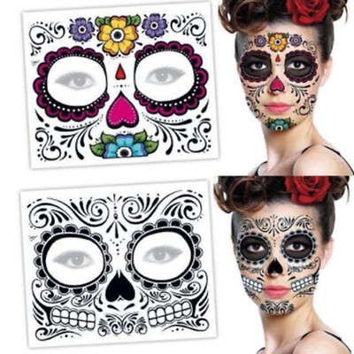 Halloween Day Of The Dead Face Sugar Skull Temporary Tattoo Costume Fancy Dress](Day Of The Dead Tattoos)