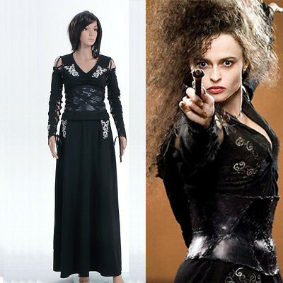 Harry Potter Cosplay Bellatrix Bella Lestrange Dress Halloween Costume Full Set