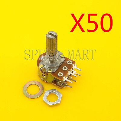 50pcs B5k Ohm Dual Linear Potentiometer Pot 20mm Shaft 6 Pins Wholesale