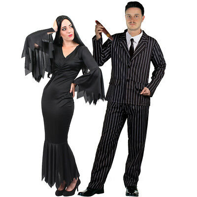 COUPLES GOTHIC CHARACTER COSTUME WOMENS BLACK DRESS MENS STRIPED SUIT HALLOWEEN (Black Dress Halloween Character)