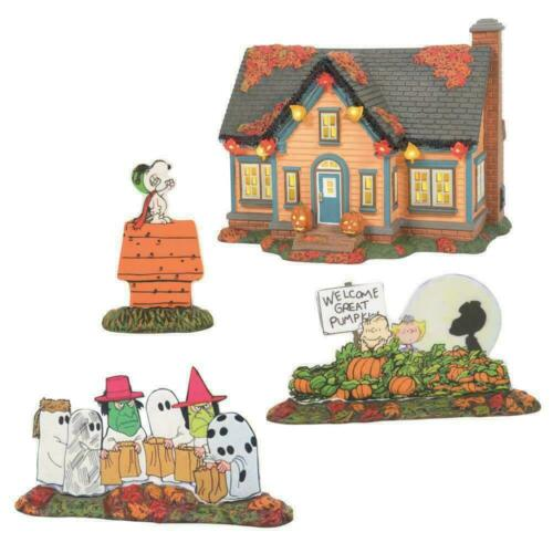 Dept 56 TRICK OR TREAT LANE PEANUTS Halloween Village 6007640 New 2021 Set of 4