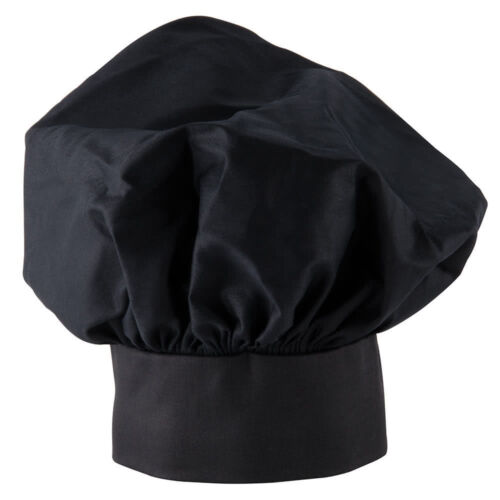 NEW  EASY WEAR CHEF HAT BLACK CLOTH ONE SIZE FIT FREE SHIPPING