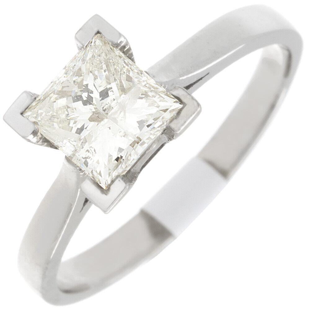 GIA Certified Diamond Engagement Solitaire Ring 1 Carat Princess Cut 14k Gold 2