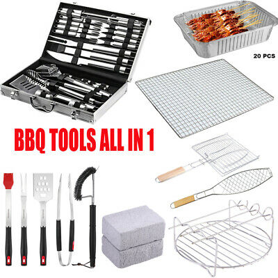 5-26pc BBQ Cooking Tool Steel Utensil Set Barbecue Grilling Brush Spatula Tongs