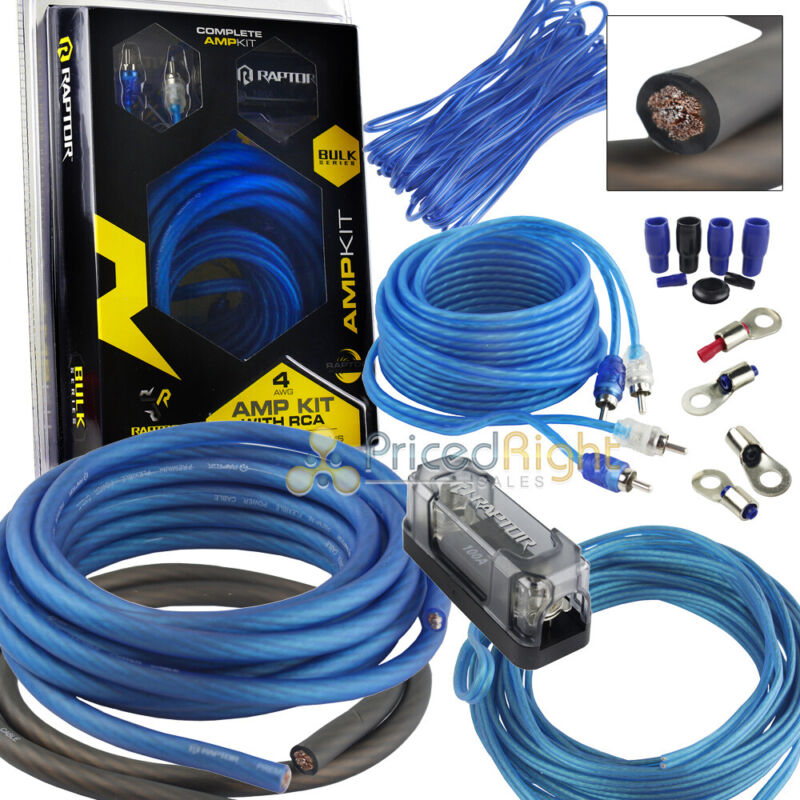 True 4 Gauge Amp Kit AWG Amplifier Install Raptor R2AK4 CCA 1100 Watt RMS Blue