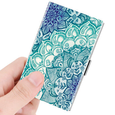 Business Card Holder Genuine Leather Coated Slim Card Case Organizer - Emerald