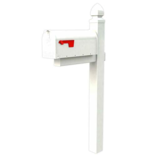 Steel Mailbox Post Combo Post Mount on Locking White Powder Coated Heavy Duty
