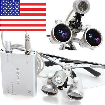 Dental Surgical Binocular Loupes 3.5x 420mm Optical Glass Led Head Light Lamp