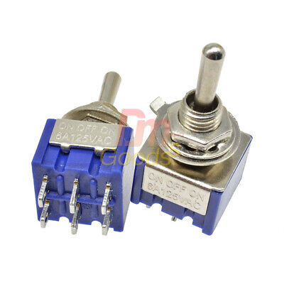 Mtse-ten Mini On-off-on Toggle Switch 6pin 1312.7mm Spdt 250v Toggle Switch