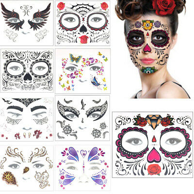 Halloween Temporary Face Art Waterproof Mask Sugar Skull Tattoo Beauty - Masquerade Mask Face Stickers
