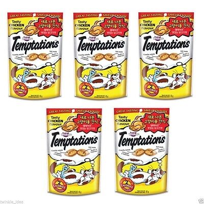 5 Pack of Chicken Flavor Whiskas Temptations Treats for Cats