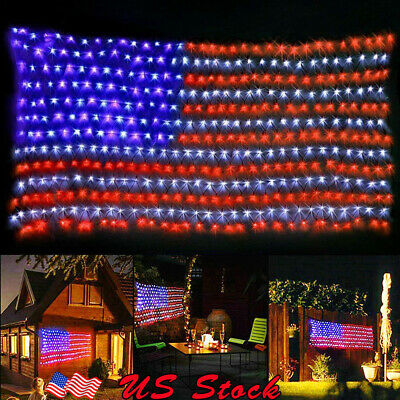 American Flag LED String Lights 8 modes Timer Function Large USA Flag Net Light](Halloween Kitchen Timer)
