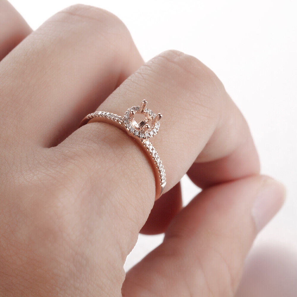 Sterling Silver Semi Mount Round 4-4.5mm Diamond Engagement Wedding ...