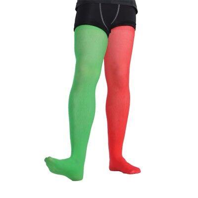 Herren Elfen Hofnarr Strumpfhose Weihnachten Kostüm Zubehör Rot & Grün