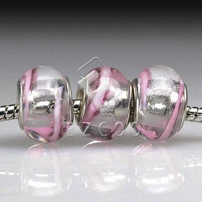 5stk.Muranoglas Perlen Lampwork Großlochperlen Spacer European Beads DIY LB57