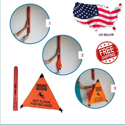Wet Floor Sign English Spanish With Storage Tube Free Shipping