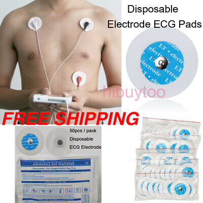 50xdisposable Adhesive Electrodes Pads For Portable Ecg Ekg Handheld Adult Size