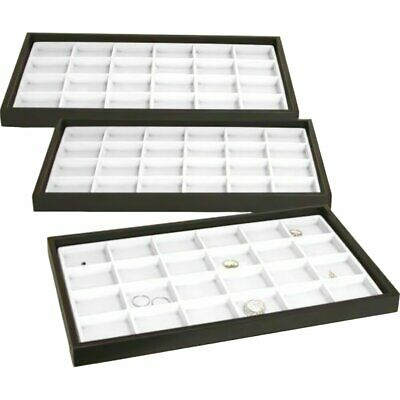 3 Jewelry Display Trays White 24 Slot Charm Coin Case