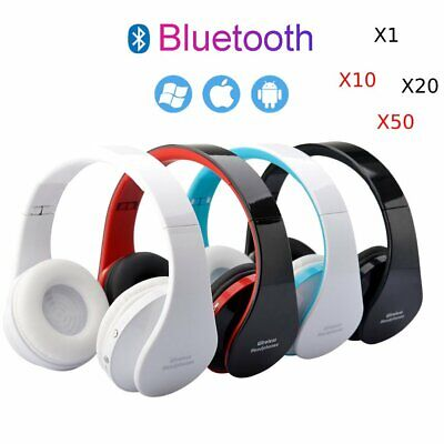 LOT Folding Wireless Stereo Bluetooth Headset Mic For Cellphone PC Laptop