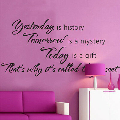 Yesterday is History DIY Vinyl Quote Wall Sticker Decal Mural Home Room Decor US