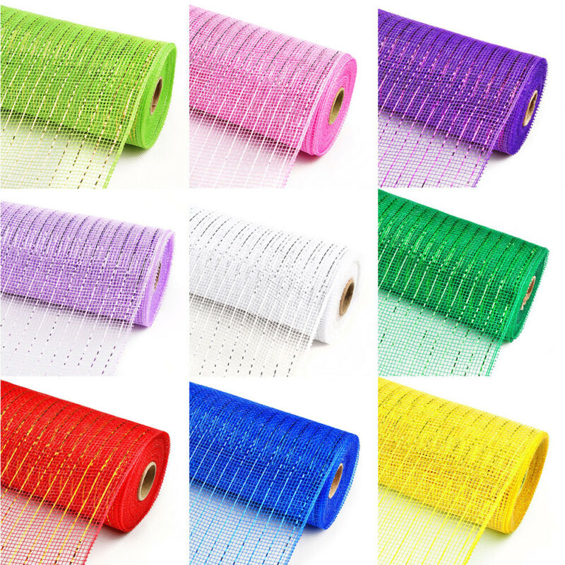 """10""""/21"""" x 10 YDS Deco Poly Mesh Metallic Ribbon For Wreaths Swags and Decorating"""