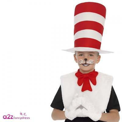 Cat In The Hat Costume For Girls (Childs Cat In The Hat Costume Dr Seuss Boys Girls Fancy Dress Kit Book Week Day)