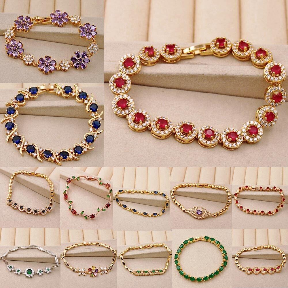 Luxury Bracelet Geometric Flower Gemstone Bangle Zircon Cuff Jewelry Women Gift