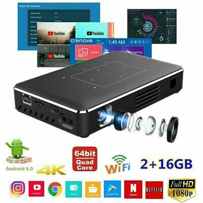 5000 Lumens DLP Android Wifi HD 1080P Projector HDMI USB 4K 2+16GB Built Battery