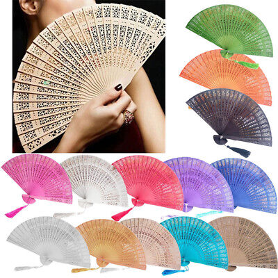 2018 Wedding Hand Fragrant Party Carved Bamboo Folding Fan Chinese Style Wooden - Wooden Fans