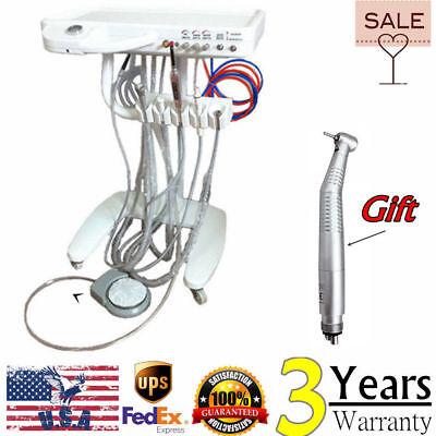 Usa Dental Delivery Unit Mobile 4 Hole Fiber Optic Handpiece Cart Wcuring Light